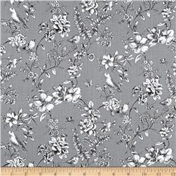Woodland Forest Birds With Floral Grey
