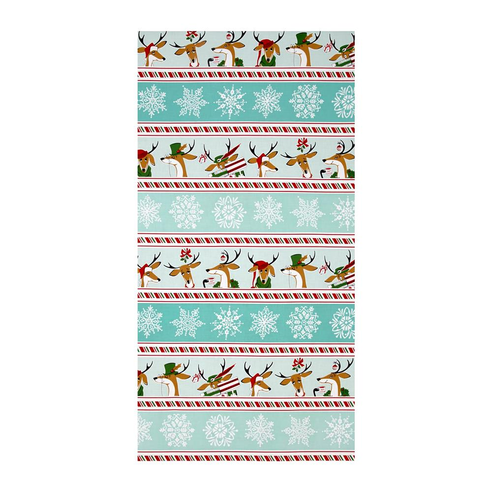 Where's Rudolph? Reindeer Stripe Aqua Panel