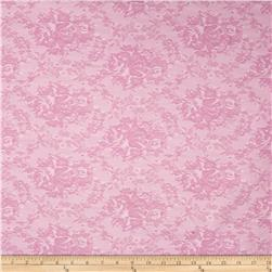 Stretch Jacquard Bengaline Suiting Roses Pink