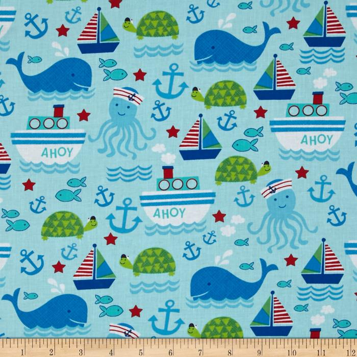Timeless Treasures Nautical Motifs Aqua Fabric By The Yard