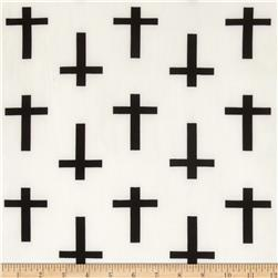 ITY Jersey Knit Cross White/Black