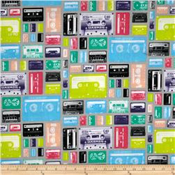 Riley Blake Geekly Chic Cassettes Grey Fabric