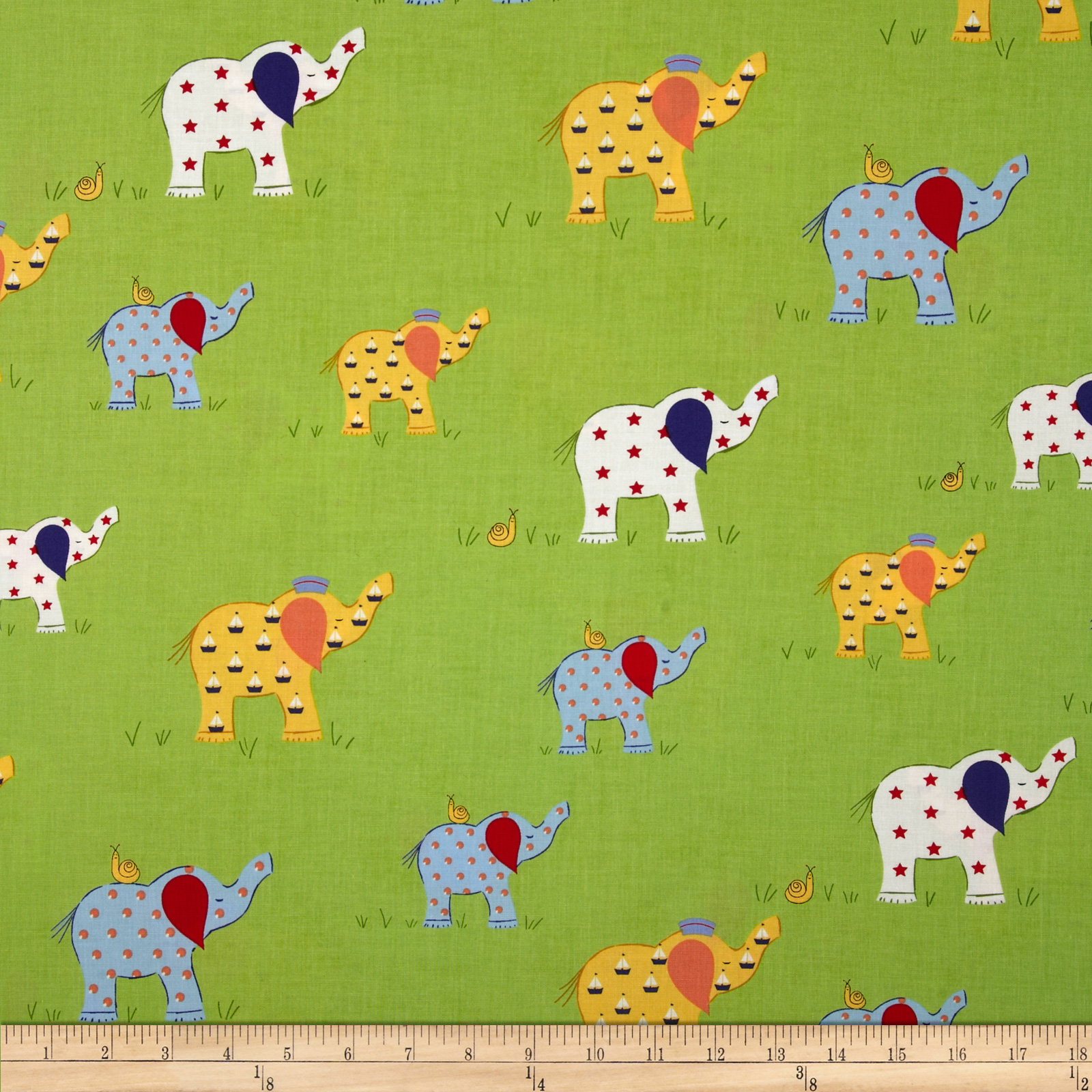 Moda Celebration Elephants Green Fabric