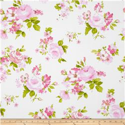 Stretch Poplin Floral Lime/Pink/White