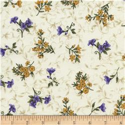 Timeless Treasures Violet Tossed Yellow & Violet Floral Cream