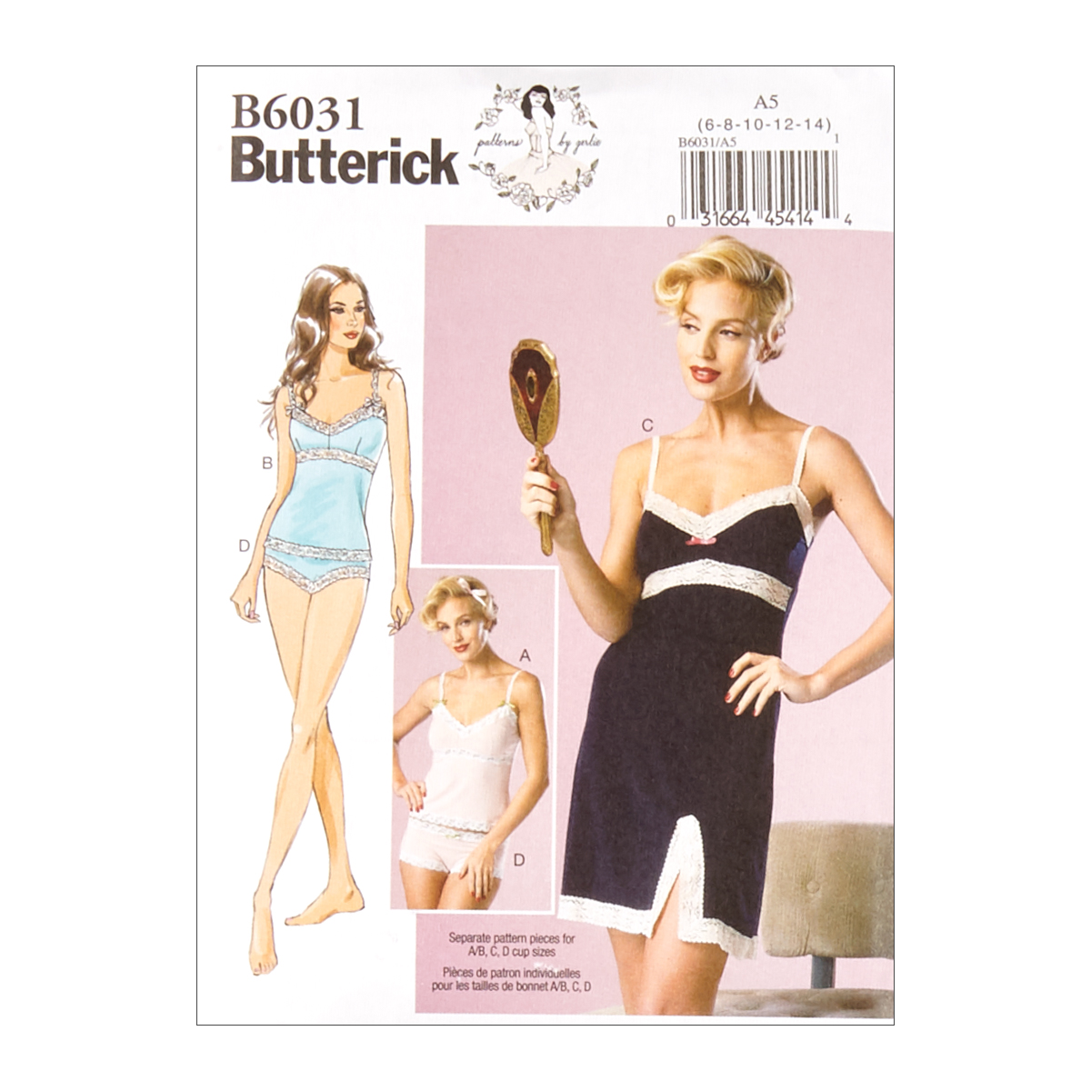 1960s – 70s Sewing Patterns- Dresses, Tops, Pants, Mens Butterick B6031 Patterns by Gertie Camisole Slip and Panties A5 Sizes 6-14 $11.97 AT vintagedancer.com