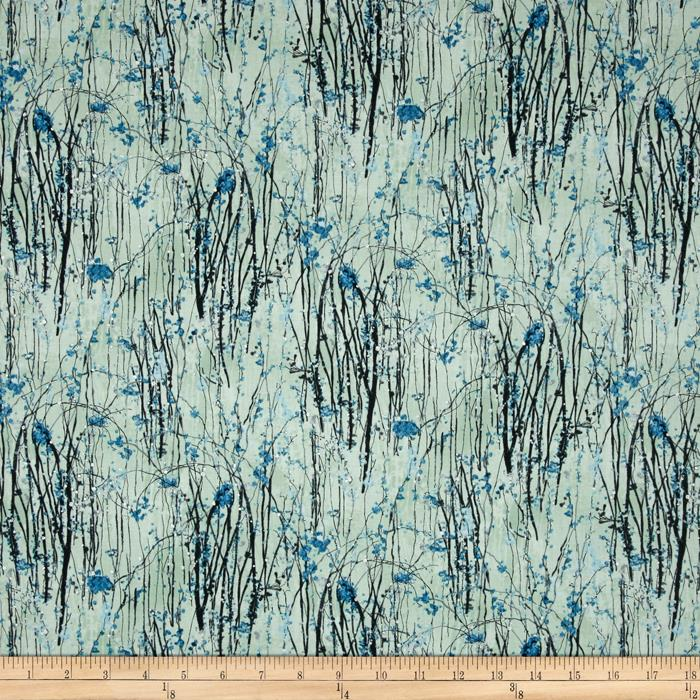 Dream Blossom Metallic Vine Floral Bluegrass/Silver