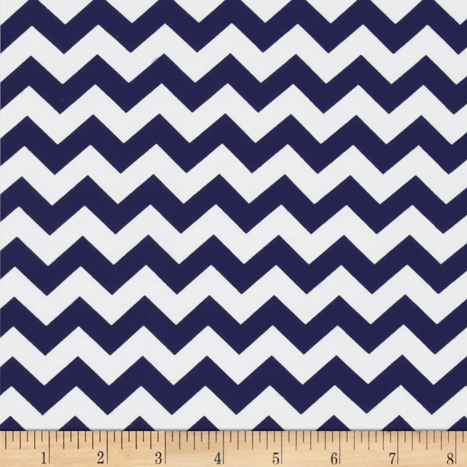Riley Blake Cotton Jersey Knit Chevron Small Navy