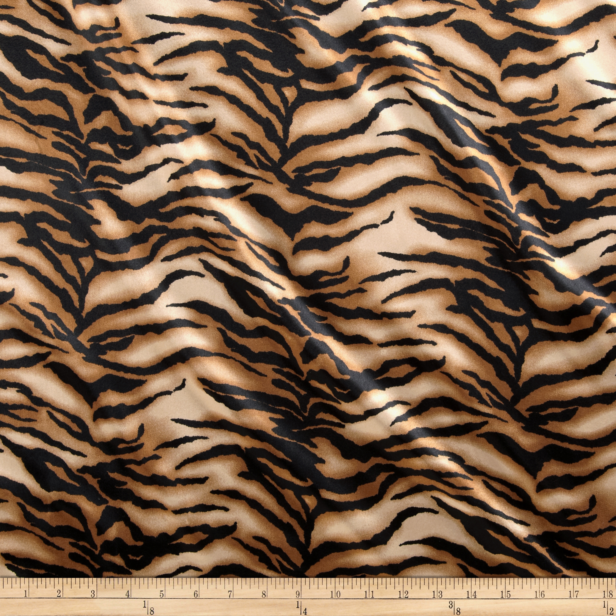 Charmeuse Satin Baby Tiger Gold/Black Fabric
