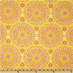 Dena Designs Sunshine Linen Blend Circle Medallion Yellow