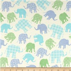 Flannel Tossed & Graphic Elephants Blue/Green