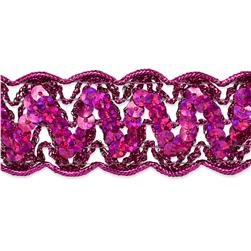 "1 1/4"" Nikki Sequin Metallic Braid Trim Roll Fuchsia"