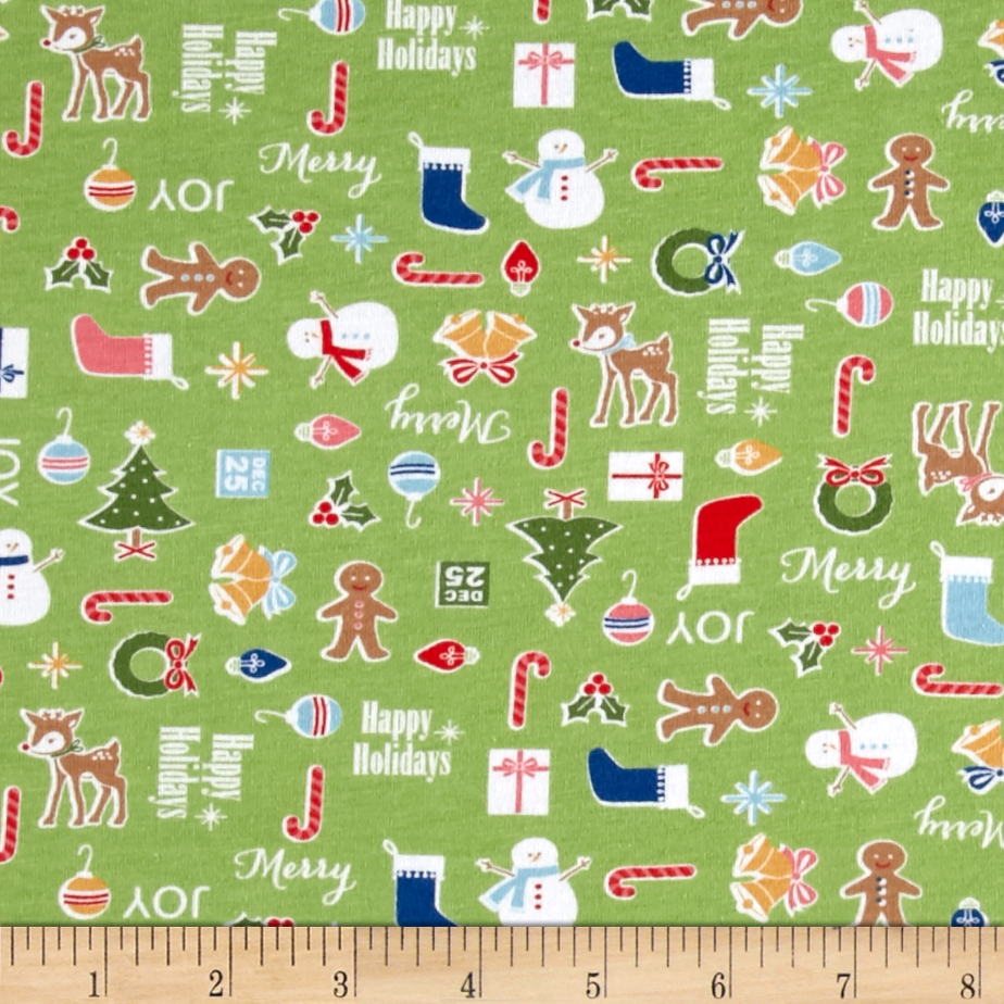 Riley Blake Cotton Jersey Knit Cozy Christmas Main Green Fabric by Christensen in USA