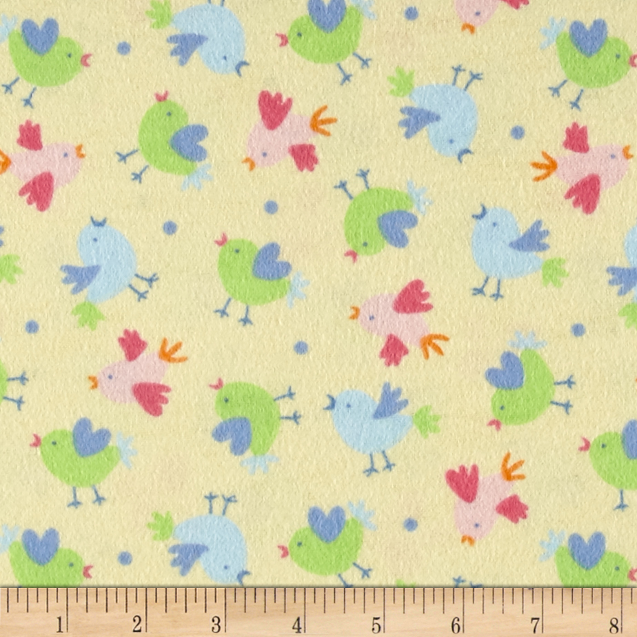 Chicks Flannel Yellow Fabric by Newcastle in USA