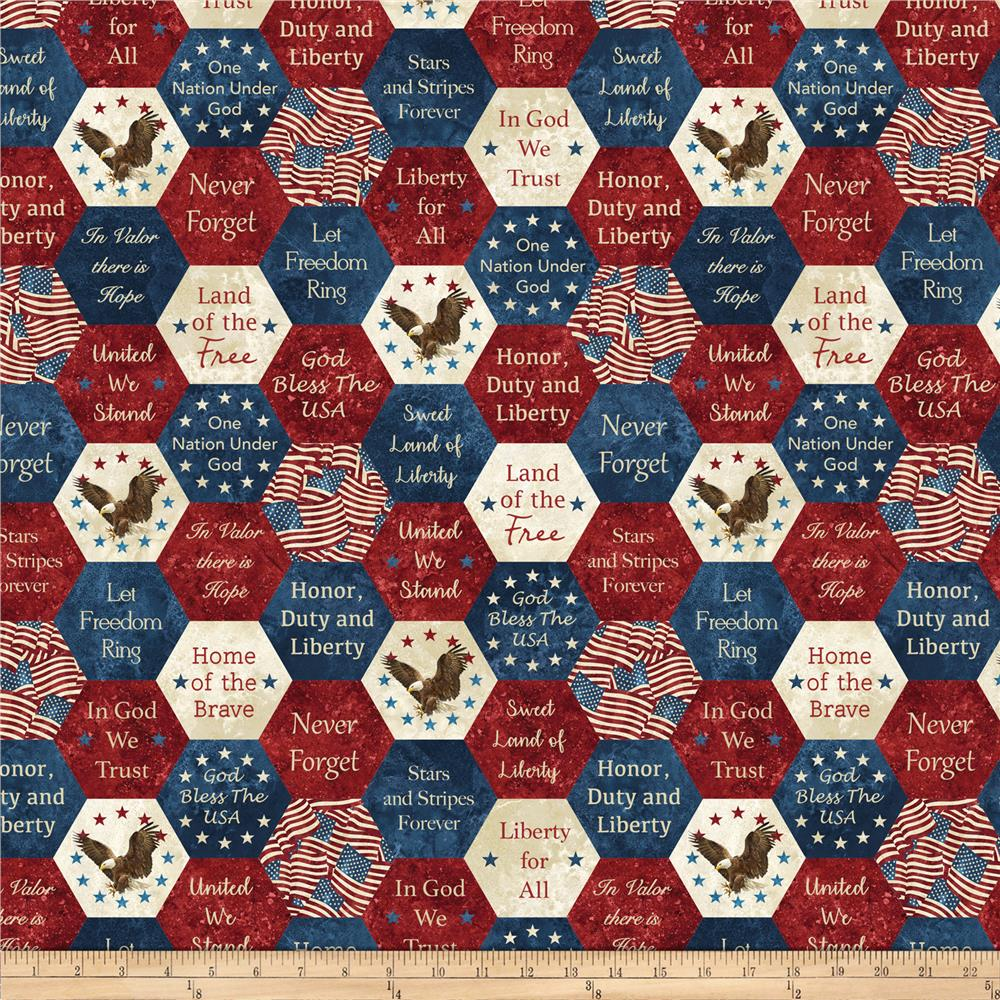 Northcott Stars Amp Stripes 7 Big American Hexies Navy Multi
