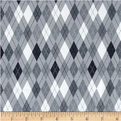 Comfy  Flannel Argyle Grey/White