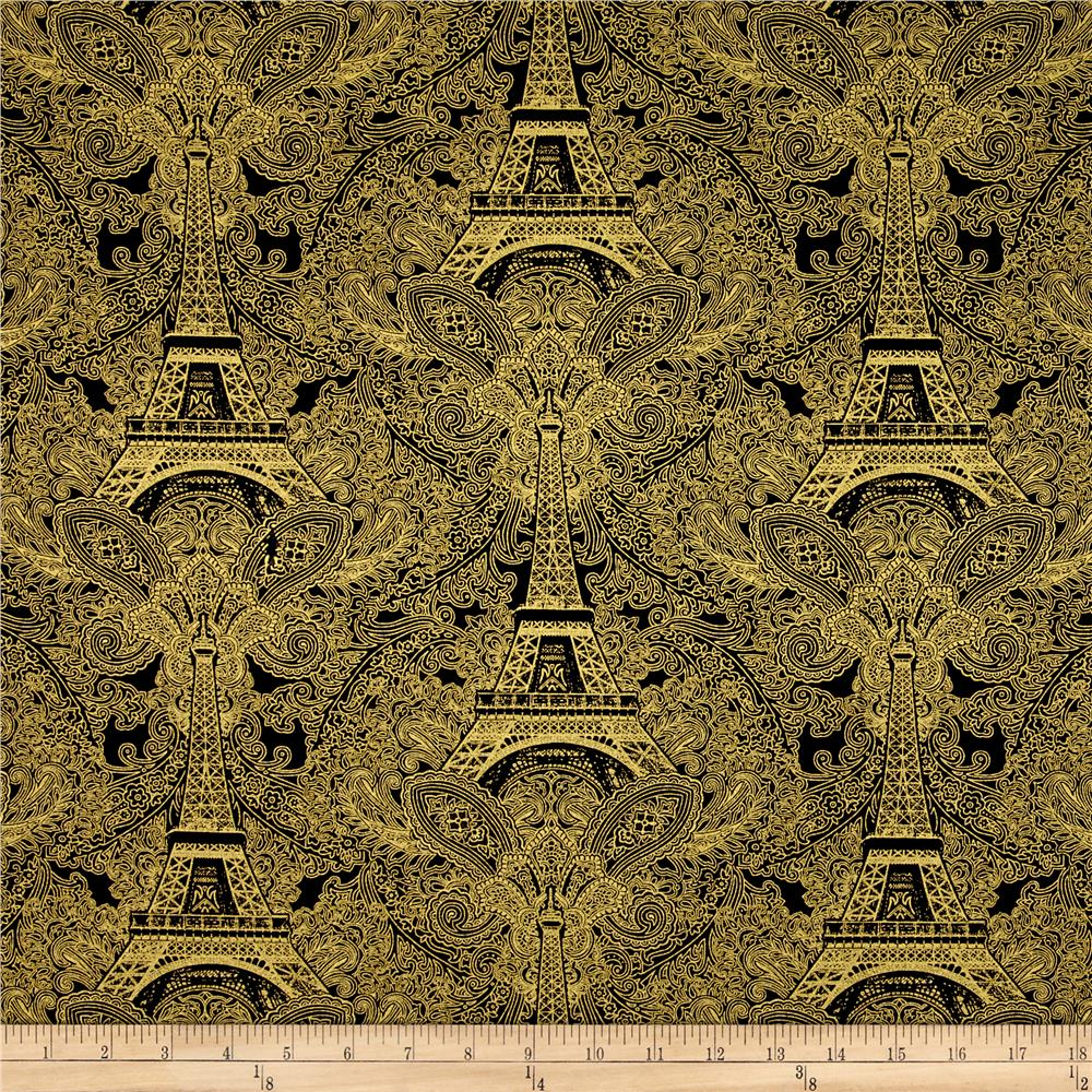 Timeless Treasures Joyeux Noel Metallic Eiffel Tower Damask