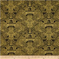 Timeless Treasures Joyeux Noel Metallic Eiffel Tower Damask Black