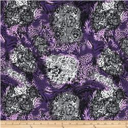 Jungle Safari Broadcloth Lace Animal Purple