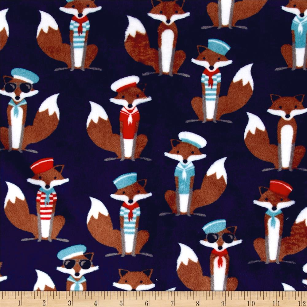 Shannon Minky Cuddle Prints Sailor Fox Navy