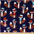 Minky Cuddle Prints Sailor Fox Navy