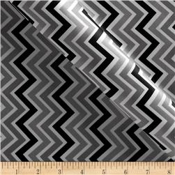 Charmeuse Satin Zig Zag Black/Silver/Snow Fabric