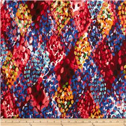 Venice Stretch ITY Jersey Knit Abstract Red/Blue