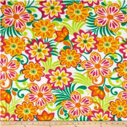 Fleece Print Flowers Orange/Green
