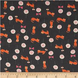 Chiffon Cats & Flowers Charcoal Grey