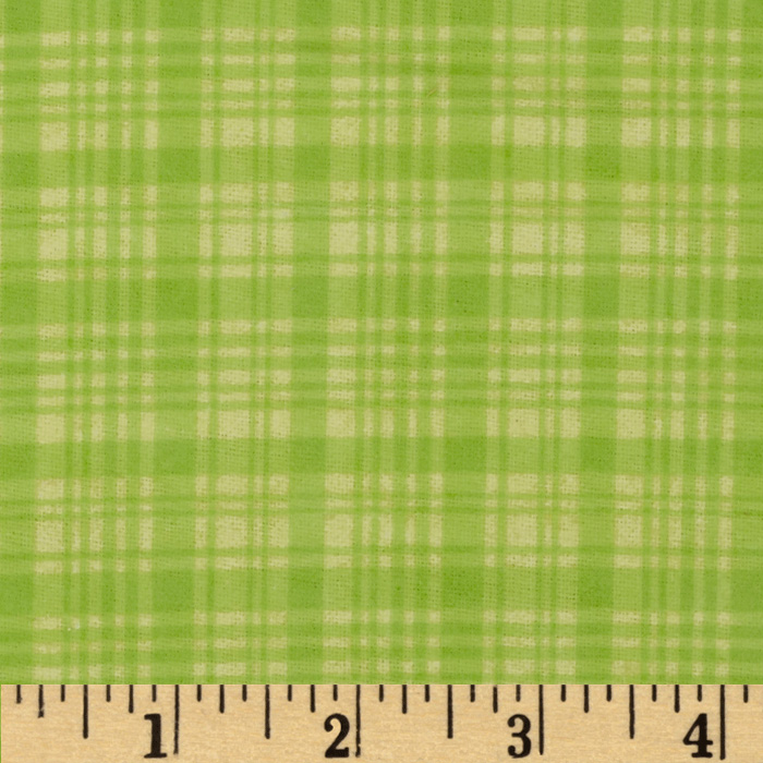 Comfy Flannel Plaid Tone on Tone Green Fabric by A. E. Nathan in USA