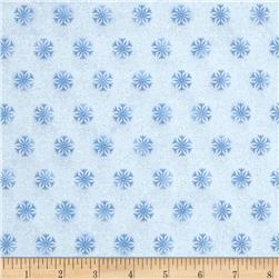 Timeless Treasures Frozen Winter Blues Metallic Snowflakes Snow