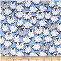 Michael Miller Flannels Sheepish Blue