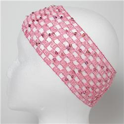2 3/4'' Sequin Stretch Crochet Headband Hot Pink