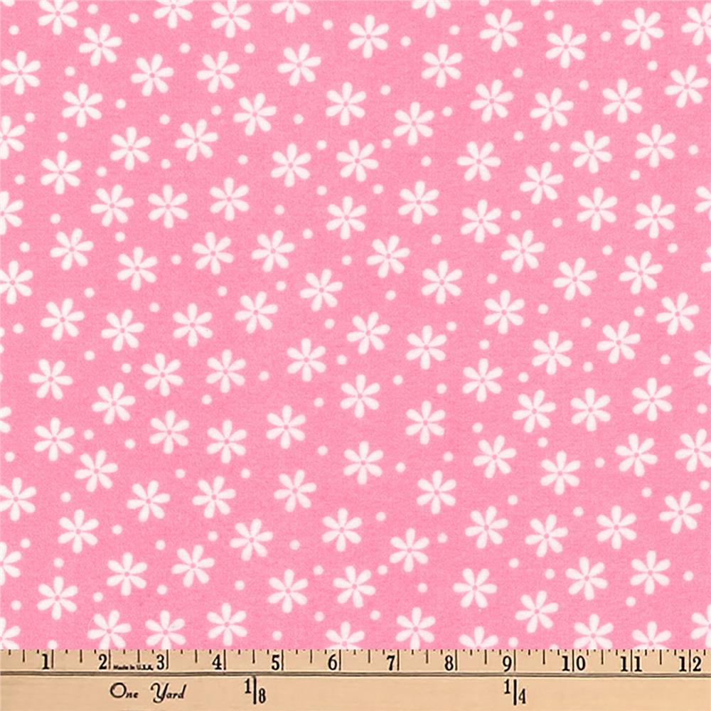 Kaufman Cozy Cotton Flannel Daisies Hot Pink Fabric
