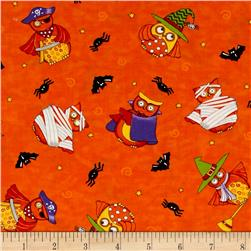 Moda Midnight Masquerade Tossed Owl Fun Bittersweet Orange