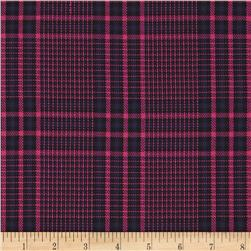 Designer Suiting Plaid Hot Pink/Purple Fabric
