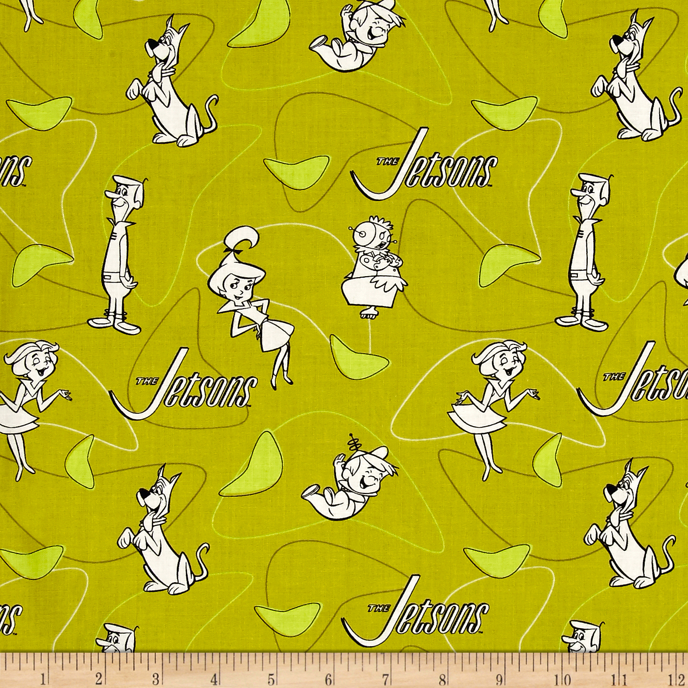 The Jetsons Line Art Green Fabric by Eugene in USA