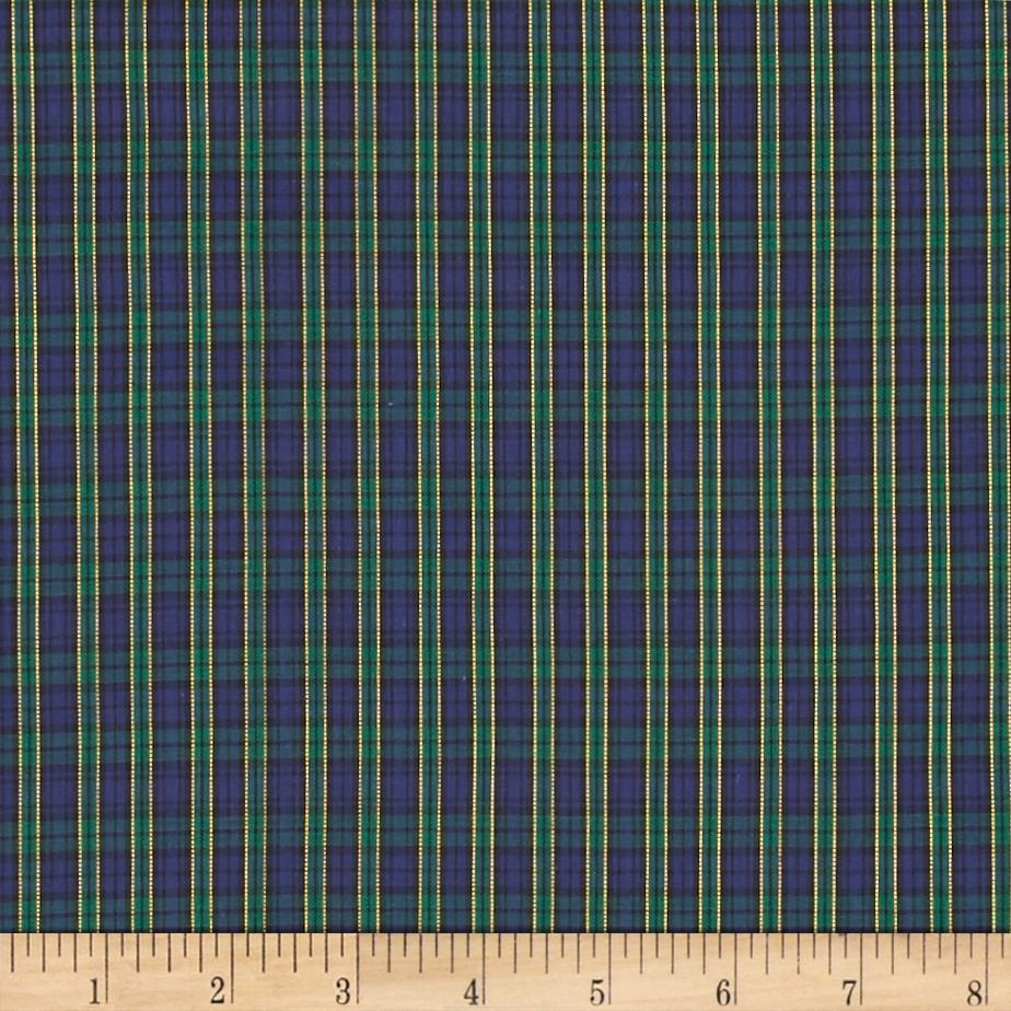 Tartan Plaid Navy/Green Fabric
