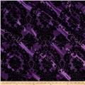 Flocked Damask Taffetta Light Plum/Black