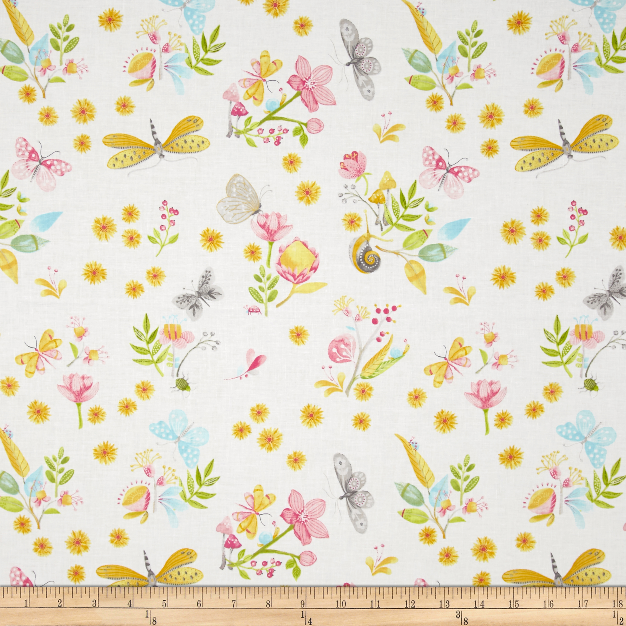 Michael Miller Nature Walk Little World White Fabric by Michael Miller in USA