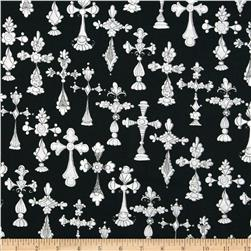 Loralie Church Ladies Bias Cross Black Fabric