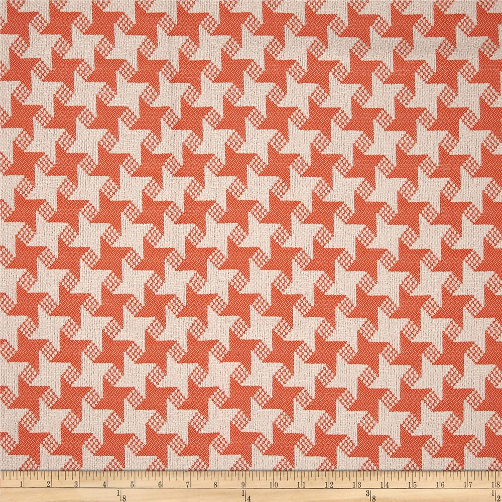 P Kaufmann Indoor/Outdoor Houndstooth Jacquard Papaya