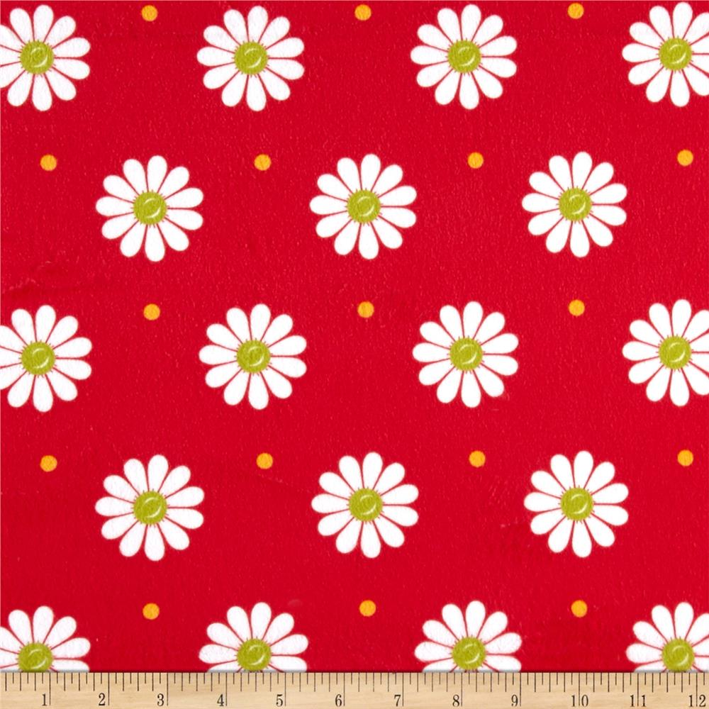 Minky Sunshine Daisies Red/White
