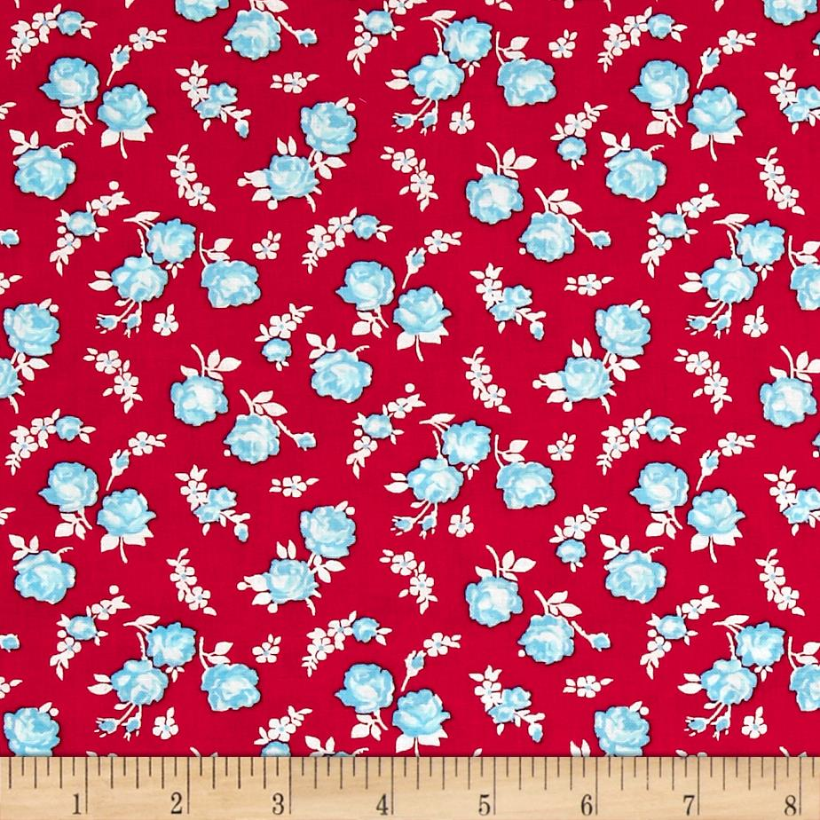 First Blush Mini Roses Red Fabric