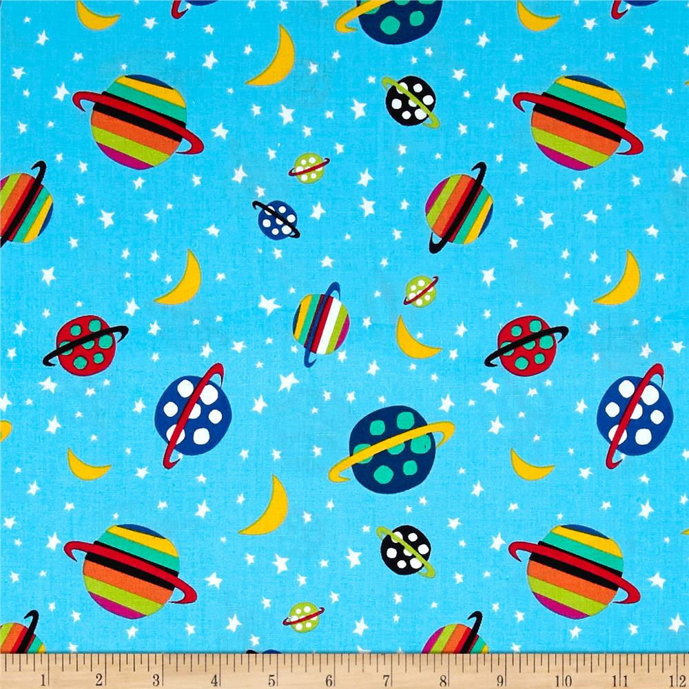 Aliens in space planet blue discount designer fabric for Planet print fabric