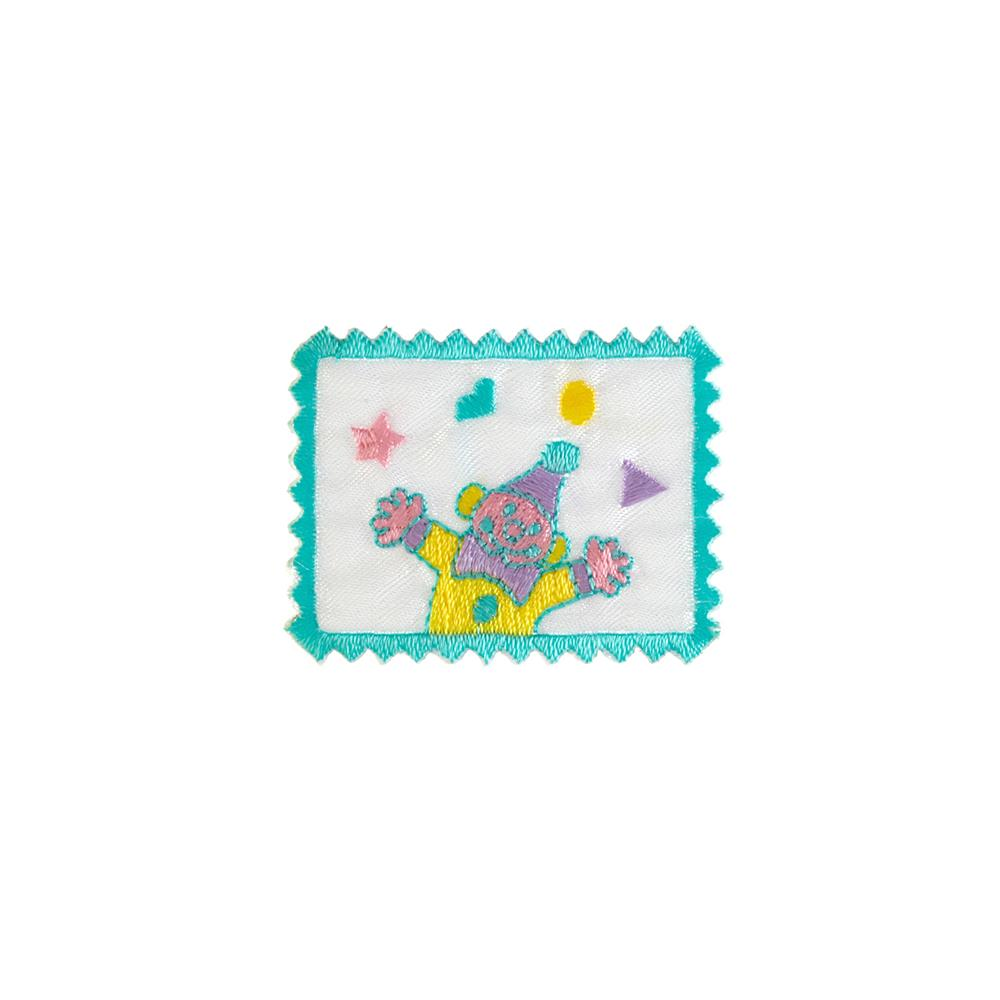 Clown Stamp Applique White