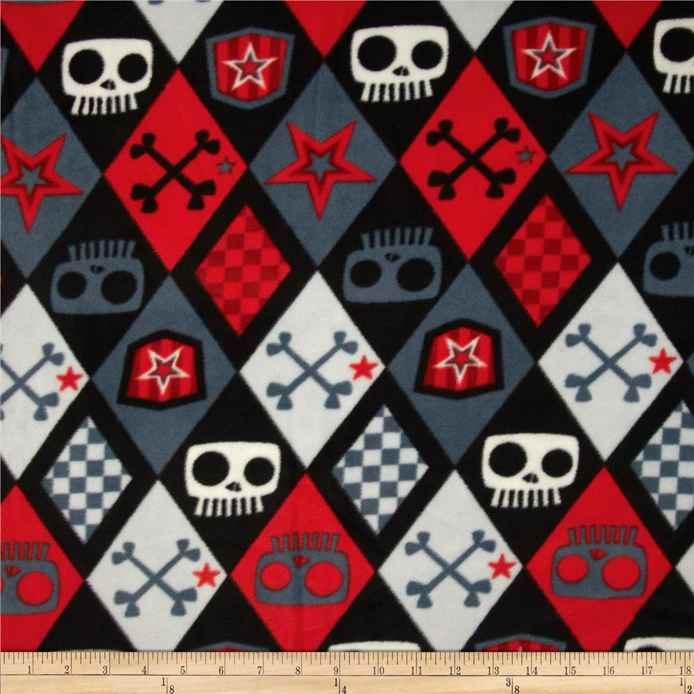 Boys Rock Fleece Skull Boy Argyle Black