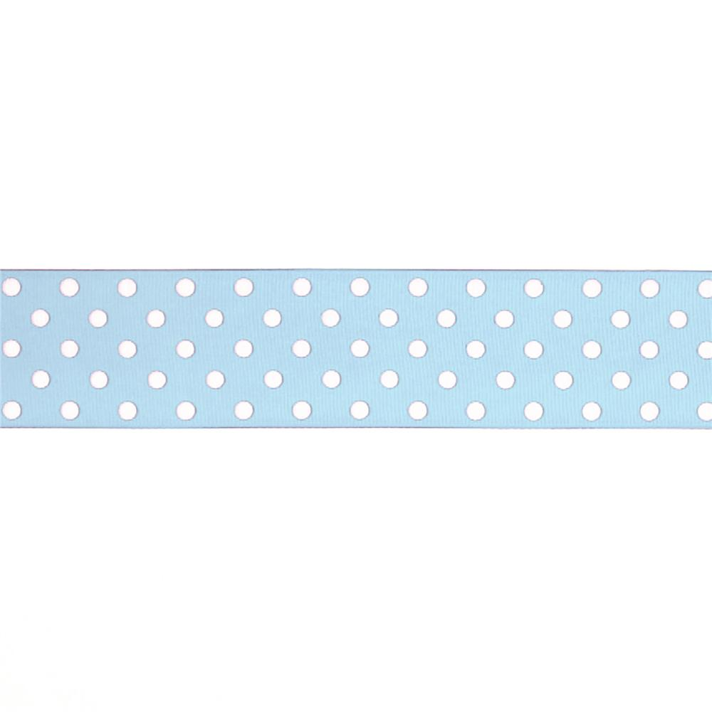 "May Arts 1 1/2"" Grosgrain Dots Ribbon Spool Light Blue/White"