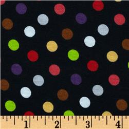 Stretch Jersey Dots Black Multi