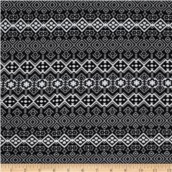 Cotton Spandex Jersey Knit Tribal Shapes Black/White